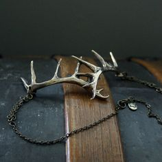 Stag Antler Choker Necklace In Solid Jewelers Bronze 152 by mrd74