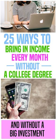 Sometimes a few hundred extra dollars can make all the difference in the world. Here are 25 ways to bring in extra income that could lead to a full-time income. And you can do these without a degree. extra income | earn income | side income | side hustle.