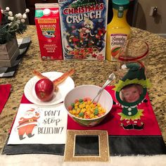 Elf On The Shelf.  Elf Breakfast.  Believe. Pretend.  Imagine.  Santa's Elves.  Foot Art.