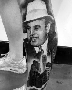 50 Al Capone Tattoos For Men - Gangster Design Ideas Al Capone, Full Leg Tattoos, Small Tattoos, Tattoos For Guys, Bild Tattoos, Body Art Tattoos, Tatoos, Gangster Tattoos, Tattoo Mafia