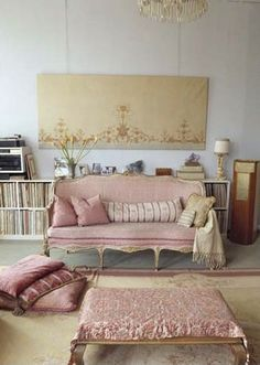 French interior decor with pink and grey details