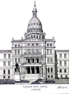 Michigan State Capitol building in Lansing.  More info at http://frederic-kohli.artistwebsites.com.