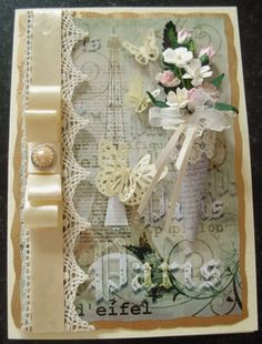 French Elegance Handmade cone posy with a lace and classic dior bow, and pearl button Anna Griffin Inc, Arts And Crafts, Paper Crafts, Mothers Day Cards, Card Designs, Flower Cards, Vintage Cards, Altered Art, Handmade Cards