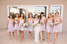 44 Loveliest Lavender Wedding Details. I love that the maid of honor has a cute and special beaded accent added to her dress!