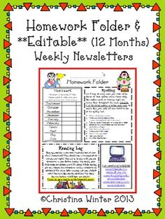 Instant Homework Folder and 12 months of **Editable** Newsletter Templates, just print and go!
