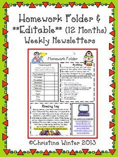 Homework Folder and 12 months of **Editable** Newsletter Templates