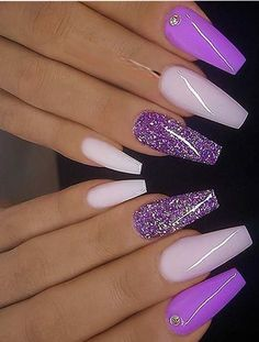 Modern looking and amazing trends of cutest purple milky pink and glitter on coffin nails for all the fashionable girls to show off in this year If you are thinking to change up you existing nails deigns then you must check out our latest collection - n French Manicure Acrylic Nails, Purple Acrylic Nails, Purple Nail Art, Purple Nail Designs, Best Acrylic Nails, Gel Nails, Blue Nail, Purple And Pink Nails, Nail Polish