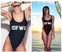 """- Modern trendy """"IDFWU"""" print monokini one-piece swimsuit for the stylish fashionista - Trendy design offers a unique stylish look - Perfect for the beach or pool - Made from nylon"""
