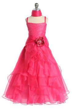 Fuchsia Jeweled Bodice Ruffle Layered Organza Flower Girl Dress L4259F $54.95 on www.GirlsDressLine.Com