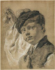 """A Boy Holding a Pear (Giacomo Piazzetta?),"" Giovanni Battista Piazzetta,  about…"
