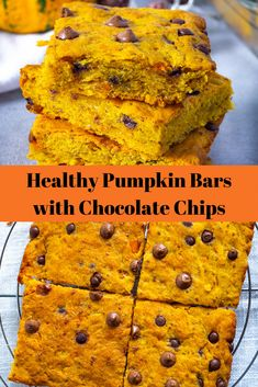 Pumpkin Bars with Chocolate Chips are perfect for fall! They are so easy to make and absolutely delicious. These Bars are fluffy, moist and vegan. Healthy Pumpkin Bars, Vegan Pumpkin, Healthy Desserts, Pumpkin Recipes, Healthy Recipes, Raw Vegan Cake, Fall Snacks, Whole Food Recipes, Dessert Recipes