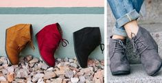 MUST HAVE wedges for Fall! (Gray of course!)Super comfortable with a 2 1/2 inch heel you feel like your wearing flats! COLORS:  BlackHazelnutBurgundyGreyThese have been running TRUE TO SIZEMade with a suede material.