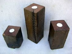 Tea Light Holder - Hum lets see, chunk of wood, sandpaper, stain, and drill a hole. $35/ each. How many could you make? Imagine setting a table with a bunch of these or your mantel? Make a slightly bigger hole for bigger candles?