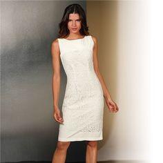 patron gratuit robe fourreau Business Dresses, Fashion Accessories, White Dress, Lady, Beautiful, Lace Dresses, Woman, Sewing Patterns, Chic