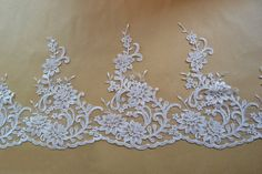 Width 10.62 inches ivory lace trimflowers embroidered by POPOLace 6.99$/yard