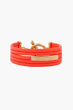 Marc By Marc Jacobs Vivid Coral Multi-band Leather Bracelet
