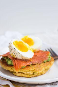Savory Cornmeal Cakes with Smoked Salmon & Eggs <3
