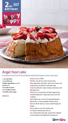 Celebrate smart shopper's birthday with angel food cake. It's lovely (and lactose free too)! Angel Cake, Angel Food Cake, Cake Recipes, Dessert Recipes, Desserts, Lactose Free Recipes, Free Angel, Kid Birthdays, Cake Mixes