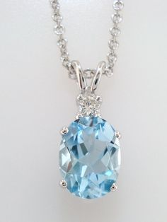 14K White Gold Oval Aquamarine & Diamond by JewelryByGaro on Etsy, $950.00