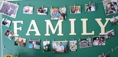 Colorful family photo wall