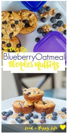 21 Day Fix Blueberry Oatmeal Blender Muffins #21dayfixrecipes #21dayfix #21dfx…