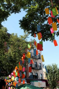 For the Northside Festival in Williamsburg, Domestic Construction created this colorful installation, which hung above the streets of the festival.