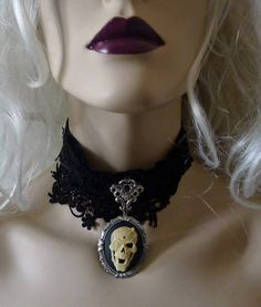 Vampire Choker Skull Black Velvet Lace Victorian Gothic Witch Dracula ...... by princessmadisonparis on Etsy