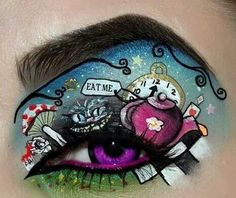 Alice in wonderland makeup art. Eye Makeup Designs, Eye Makeup Art, Eye Art, Halloween Eye Makeup, Maquillage Halloween, Make Up Art, Eye Make Up, We All Mad Here, Alice In Wonderland Makeup