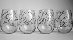 Hand Painted Stemless Wine Glasses | Simple City Style