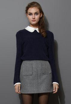 Grey Wool-Felt Skirt - Skirt - Bottoms - Retro, Indie and Unique Fashion $35