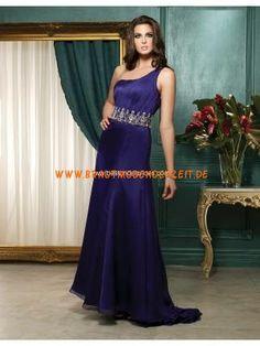 Einschulteres schönes Abendkleid aus Stretchsatin mit Kristall