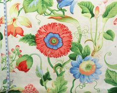 Floral fabric poppy damask pink blue destash- 4 yards from Brick House Fabric: Novelty Fabric