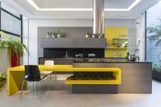 One of the many primary design components of your kitchen is the kitchen cupboards. Yellow Kitchen Designs, Kitchen Room Design, Kitchen Cabinet Design, Home Decor Kitchen, Interior Design Kitchen, Kitchen Furniture, Home Kitchens, Kitchen Display, Furniture Cleaning