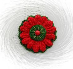 CROCHET BROOCH APPLIQUE POPCORN STITCH CHRISTMAS FLOWER DECORATION in Crafts, Crocheting & Knitting, Other Crocheting & Knitting   eBay