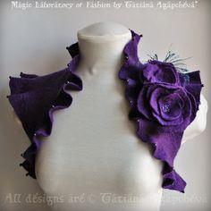 Shrug Bolero Purple Bridal Felted /NIGHT Flight/ Roses by TianaCHE. $198.00, via Etsy.