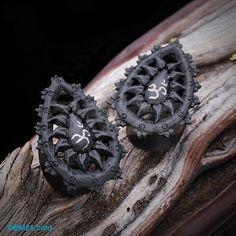 Mandala Mantra Om Arang Wood Teardrop Ear Gauge Plug