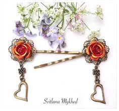 """lot de 2 Pinces barrettes filigranes à cheveux """"Carmen. Rose. Coeur."""" Style rétro. Métal bronze. : Accessoires coiffure par perles-et-couronnes"""