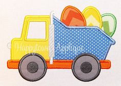 Easter Dump Truck Machine Embroidery Design by HappytownApplique, $4.00