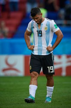 Sergio Aguero of Argentina reactas at the end of the 2018 FIFA World Cup Russia Round of 16 match between France and Argentina at Kazan Arena on June. Messi, Manchester City Wallpaper, Best Jersey, Sergio Aguero, Kun Aguero, Fifa World Cup, Red Shirt, June, Soccer