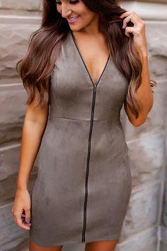 Olive Suede Zipper Dress - Dottie Couture Boutique
