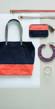 Create a matching set with our Colour Block Tote and Pouch