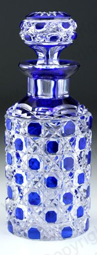 c.1900 VAL ST. LAMBERT BLUE OVERLAY CRYSTAL DRESSING TABLE BOTTLE.