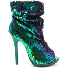 Seeking Sequins Slouchy Booties ($36) ❤ liked on Polyvore featuring shoes, boots, ankle booties, heels, green, platform boots, peep-toe ankle booties, heeled booties, peep-toe booties and low heel ankle booties