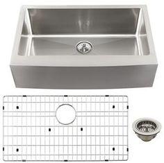 Schon SCAPS16 Luxury 16 Gauge Single Bowl Apron Front Kitchen Sink, Stainless Steel