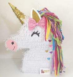 Sale Ready to Ship Unicorn Pinata with Pink Bow Gold Ear Unicorn Birthday Parties, Girl Birthday, Fete Emma, Unicorn Crafts, Rainbow Birthday, Childrens Party, Emoticon, First Birthdays, Party Time