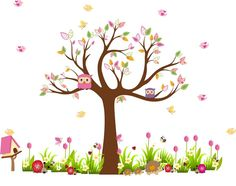 tree with tulips wall decall