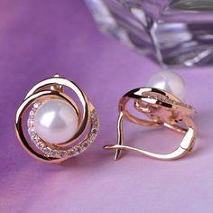 Exquisite Pearl Perla Jewelry Earrings For Women 18K Gold Plated Copper Rhinestone Zircon Stud Earring Accessories Ear Jewelry
