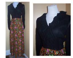 Vintage 1970 Maxi Dress Neon ruffles Sheer Sleeves sz Medium from GoodNPlentyVinty on etsy.com  No Belt  $45.00  VCAT