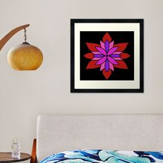 """Lotus Star Design"" Framed Art Print by Pultzar   Redbubble"