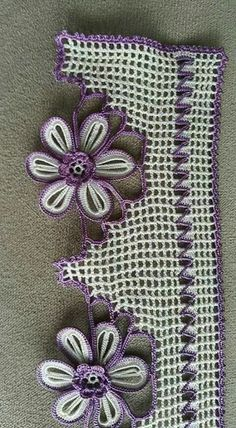 100 Tane Havlu Kenarı Modelleri 2017 - Cut Tutorial and Ideas Crochet Edging Patterns, Crochet Borders, Loom Patterns, Crochet Designs, Crochet Dollies, Crochet Flowers, Unique Crochet, Mittens Pattern, Tatting Lace